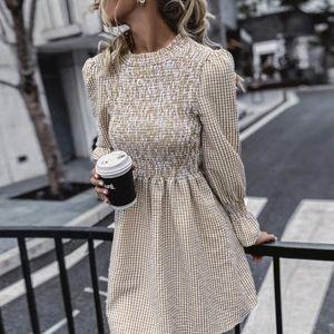 Gingham Shirred Tie Back Dress